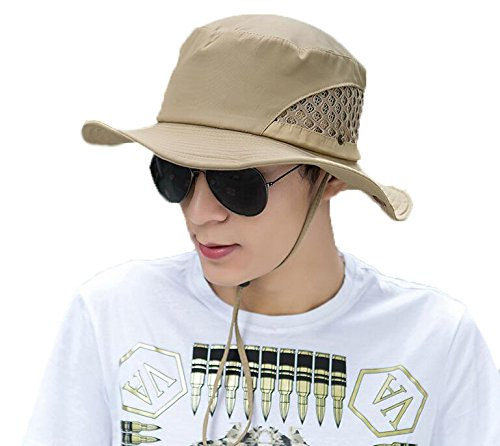 Mens Womens Camping Hat Outdoor Quick-dry Hat Sun Hat Fishing Cap Bucket Boonie Hat (Kakhi)