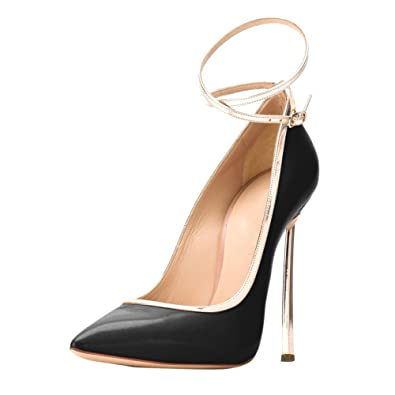 0359489637be onlymaker Women s Pointed Toe Ankle Strap High Heels Stiletto Large Size  Dress Pumps Black Gold 5