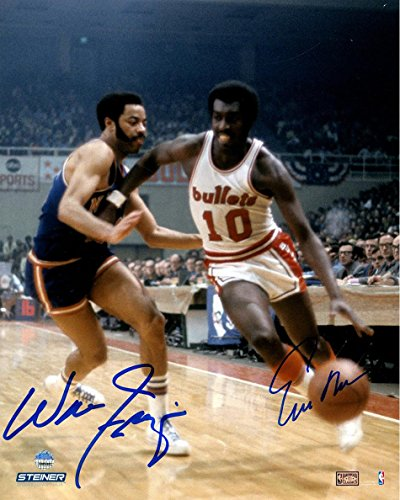 NBA New York Knicks Walt Frazier and Earl Monroe Dual Signed Color Vertical 8x10 Photo by Steiner Sports