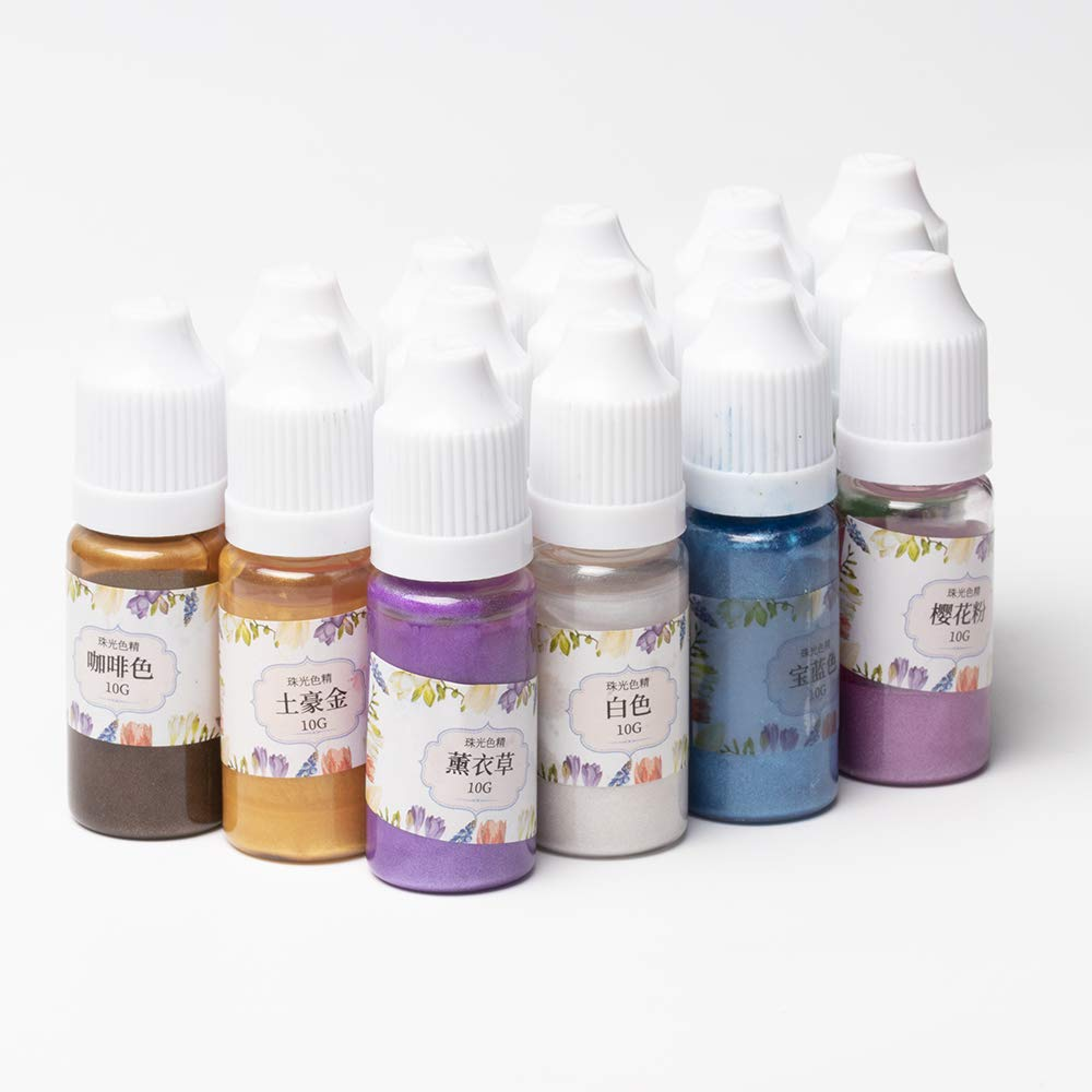 15 Colors Metallic Pearlescent Liquid Pigment Resin Dyes Colorants with Glitter, Epoxy Resin Pigment Set for Resin Crafts DIY Art