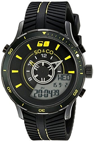 SO&CO New York Men's 5035.6 Monticello Analog-Digital Display Black  Rubber Strap - Display Rubber Strap