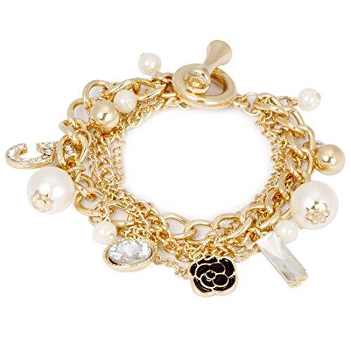 BMC Gold Colored Alloy Metal Multi Strand Chain Faux Pearl Rhinestone Fashion Charm Bangle Bracelet