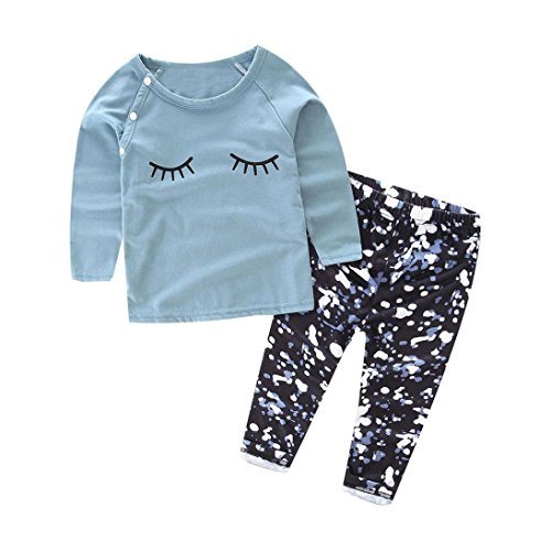 DaySeventh 2016 1Set Baby Eyelash Print Long Sleeve T-shirt Tops+Pants Clothes (12M, Blue)