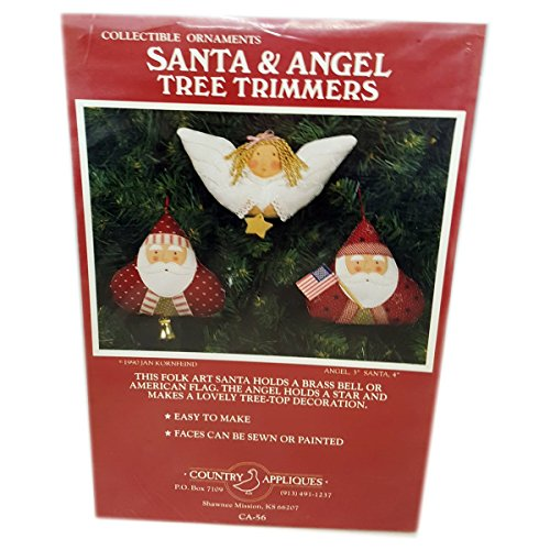 Country Collectibles Ornaments (Vintage 1990 Jan Kornfeind Country Appliques Santa & Angel Tree Trimmers Collectible Ornaments Sewing Patterns 3
