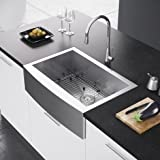 "Exclusive Heritage 29.88"" x 21"" Farmhouse Kitchen Sink with Strainer and Grid"