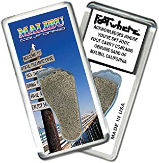 product image for Malibu FootWhere Souvenir Fridge Magnet. Made in USA (MBU203 - Welcome)