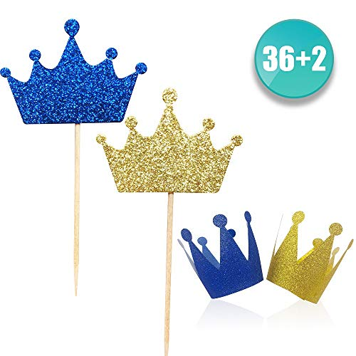 ALISSAR 36-Pack Pind and Blue Crown Cupcake Toppers Picks, 2-Pack Crown Hats, Baby Shower Wedding Party Decorations -