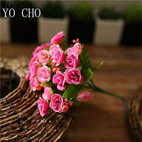 Yo Artificial Flowers Silk Flowers 21heads Mini Rose Flower Hydrangea for Home Decoration Green Fake Flowers Bouquet