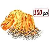 Aobear Durable Bulk Orange Lanyards for ID Name Badge Holder (100pcs)