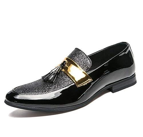 Mocasines para Hombres Cómodos Zapatos de Boda de Piel de Microfibra de otoño otoño en Punta: Amazon.es: Zapatos y complementos