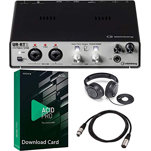 Steinberg UR-RT2 USB Audio Interface Bundled with MAGIX Acid Pro 8 Music Production Software, Over-Ear Headphones and 1 x 20-Ft XLR Cable