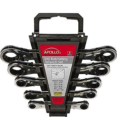 Apollo Tools 5 Piece SAE Ratcheting Wrench Set
