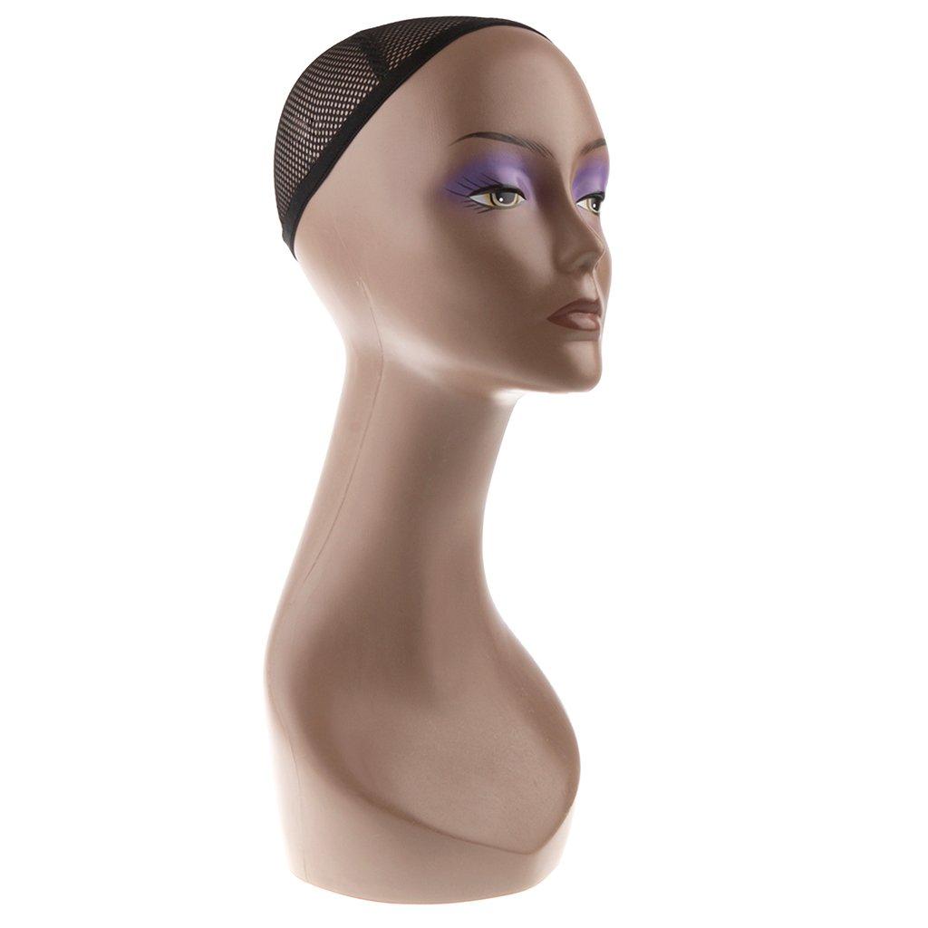 MagiDeal Tête Mannequin Femme Buste en Plastique avec Cou Longe pour Affichage Perruque Bijoux Chapeaux Article de Vitrine