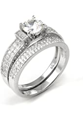 Sterling Silver Cubic Zirconia 2.1 Carat tw Round Cut CZ Pave Wedding Engagement Ring Set, Nickel Free