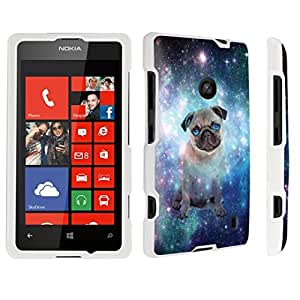 linJUN FENGDuroCase ? Nokia Lumia 521 Hard Case White - (Space Pug)