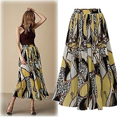 Faldas de Mujer Falda de Cintura Alta con Estampado de Gasa ...