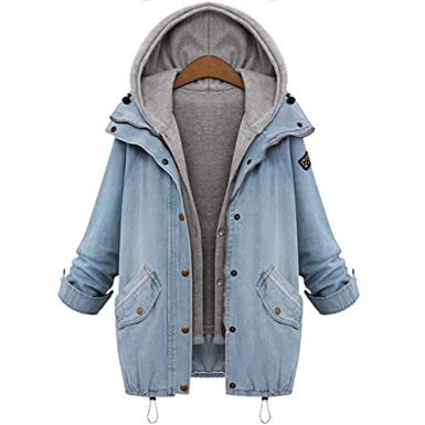 337e3e960955 mh.kh6j5lk Spring Autumn Women Two Piece Hooded Jeans Jacket Suit Plus Size  Casual Denim Coat + Sweatshirt Vest at Amazon Women s Coats Shop