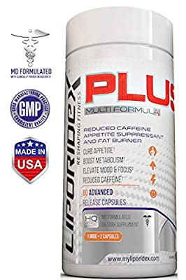 Liporidex PLUS Weight Loss Supplements w/ Green Coffee - All Natural Doctor Formulated Appetite Suppressant Thermogenic Fat Burner - Lose Weight Fast 60 Diet Pills