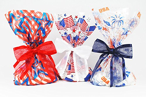 Patriotic Cellophane Treat/Party Favor Bags with Coordinating Twist-Tie Organza Bow. Set of 10 Ready-to-Use, Gusseted 11x5x3 Goodie Bags with Bows. Mix of Red, White and - Red Mix Blue