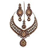 Jewelshingar Antique Gold Plated Cubic Zirconia Stones Necklace set For Girls ( 81003-nz )