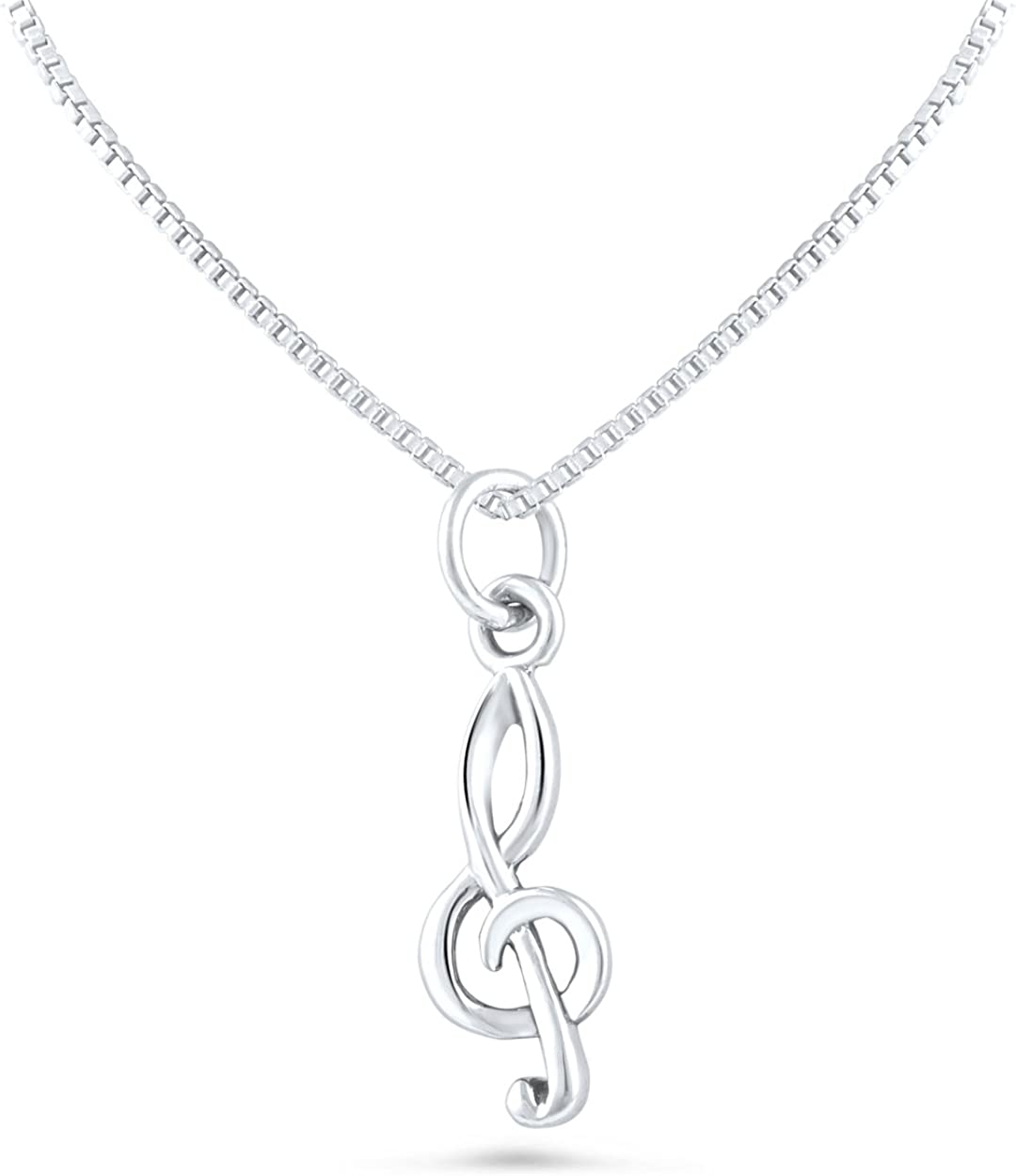 Treble Clef Pendant Sterling Silver 925 Music Symbols Jewelry Gift 32 mm