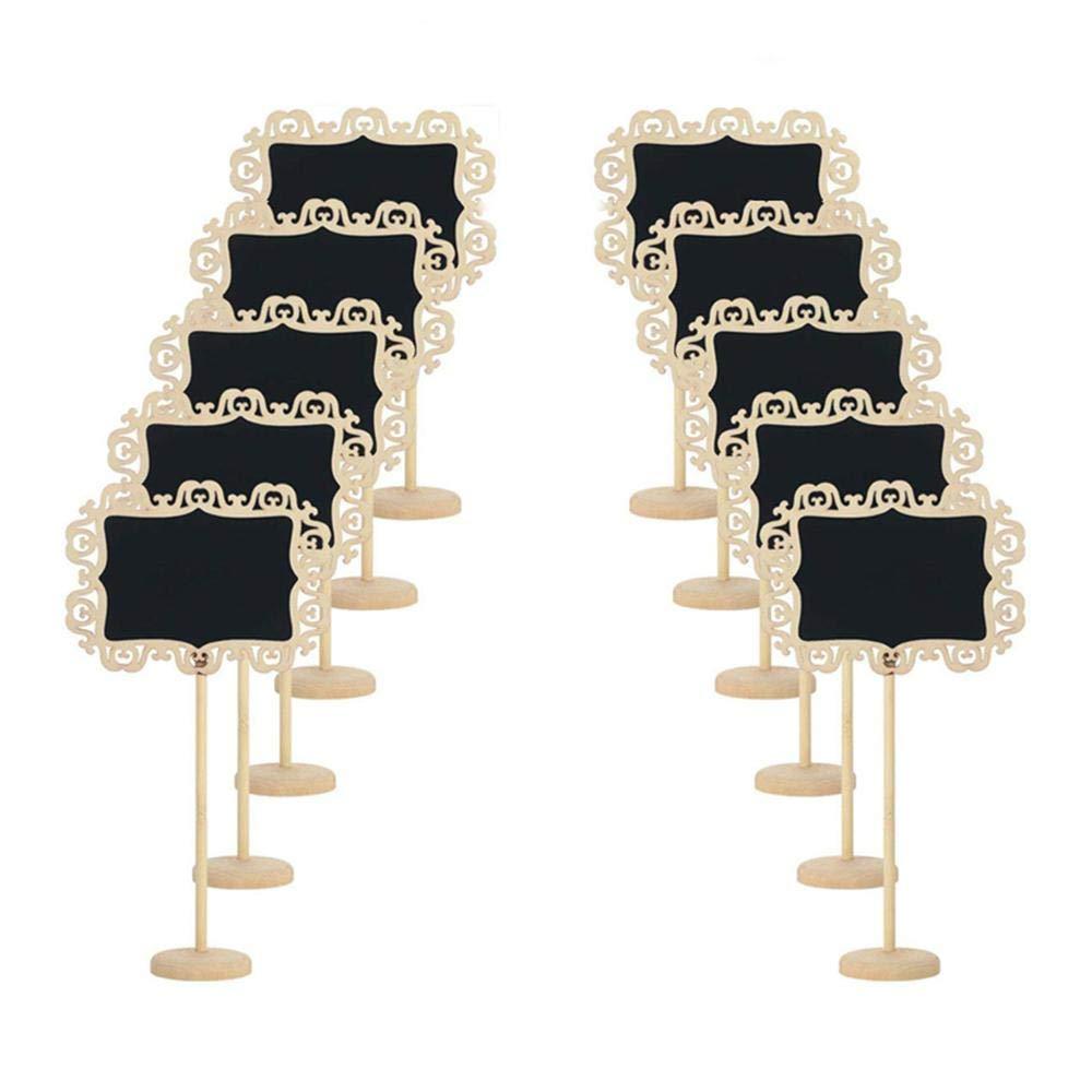 Aolvo Mini Tableau Noir Piquets, 10pcs Mini Tableau Noir Debout Lot réutilisable en Bois Petite encadrée Chevalet Tableau Noir avec Support pour fête de Mariage Décoration de Table