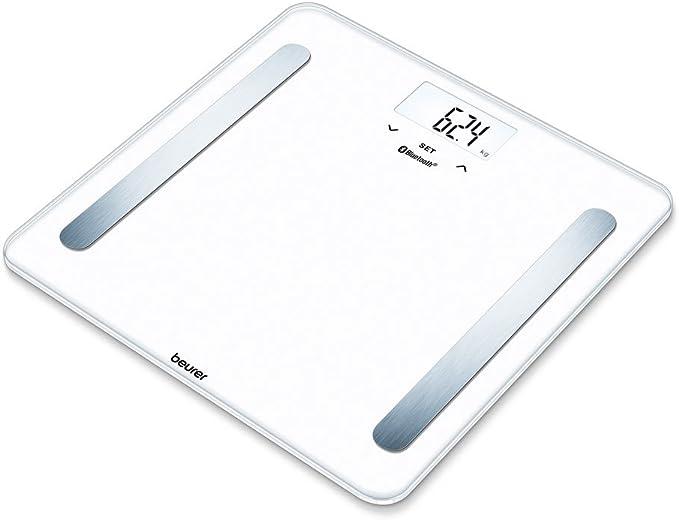 Beurer BF 600 - Báscula digital de diagnóstica con IMC y función Bluetooth de vidrio, con App en español, color blanco