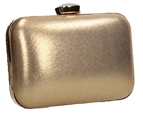 Clutch Party Wedding Gold SWANKYSWANS Diamante Box Two Prom Jane Tone Womens Bag 4qSUOS1xw