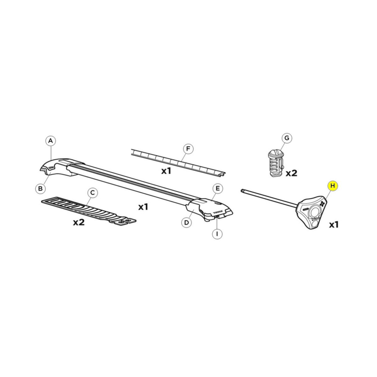 Thule AeroBlade Edge Replacement Raised Rail AcuTight Tool 1500052318