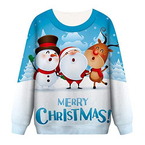 Sunhusing Ladies' Fall/Winter Christmas Elements Series 3D Printing Long Sleeve Sweatshirt Pullover Tops
