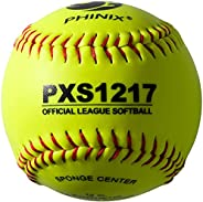 PHINIX Softball (One Dozen) Optic Yellow Leather,Red Stitch,Cork Core,Polycore Leather Cover.