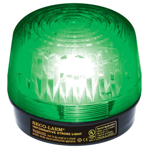Seco-Larm SL-1301-SAQ/G Enforcer LED Strobe Light with Built-In 100dB Programmable Siren, Green, Operating life over 50,000 hours (over 5.7 years),  Simple 2-wire installation, Weather resistant