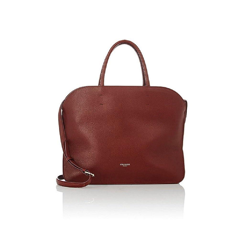 4752e0bdc2b Nina Ricci Elide Brown Leather Satchel Handbag: Handbags: Amazon.com