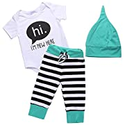 Arshiner Unisex Baby's 3 Piece Bodysuit, Cap, and Legging Set, Green, 70(Age for 0-6M),Green,70(Age for 0-6M)