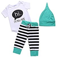 Arshiner Unisex Baby's 3 Piece Bodysuit, Cap, and Legging Set, Green, 70(Age ...