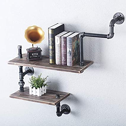 Amazon Com Reclaimed Wood Industrial Heavy Duty Diy Pipe Shelf Shelves Steampunk Rustic Urban Bookshelf Real Wood Bookshelves And Bookcases 2 Tier Kitchen Dining