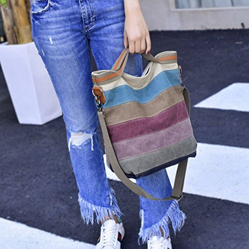 Color Canvas Striped Cross Tote HOBO Handbag Bag Purse Handbag for Should Body Women Multi Vincenza Large xCXIw5naq0