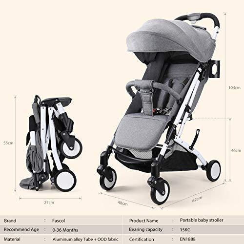 Fascol Silla de Paseo Portátil Cochecito Ligero Plegable Carrito Bebé Se puede almacenar en el Avión Cochecito para bebe 6-36 meses, Gris: Amazon.es: ...