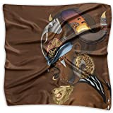 Women Lady Africa Goddess Art Deity Print Square Kerchief Scarf Head Wrap Neck Satin Shawl