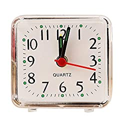 Oldeagle Alarm Clock, Cute Portable Silent Wake Up Bell Small Bed Compact Travel Quartz Beep Alarm Clock (White)
