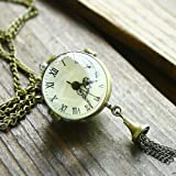 Antique Crystal Ball Style Brass Quartz Pocket Watch With Chain Belt