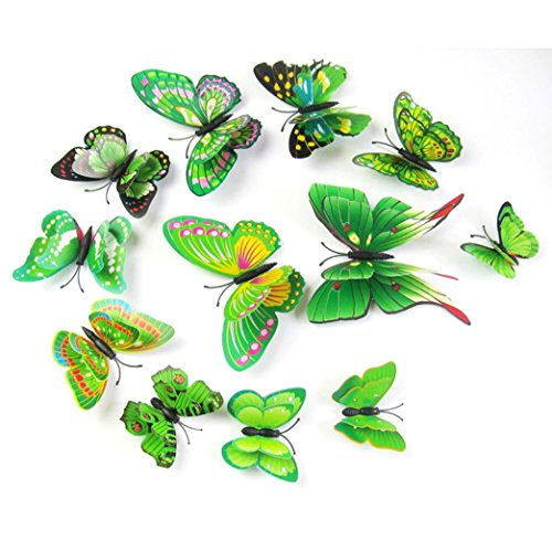 FUNIC 12Pcs 3D Butterfly Wall Sticker Fridge Magnet Room Decor Decal Applique