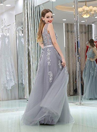 Evening V Long Black Formal Neck Women's Tulle CuteShe Dresses Straps pqwanXxn40