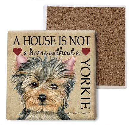 Yorkie Absorbent Stone Coasters, Set of 4 (SJT24778)