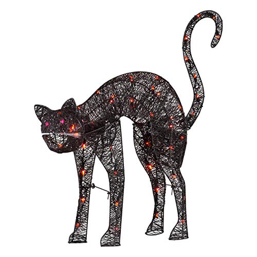 "KSA 32"" Light Up the Night Lighted and Animated Black Cat Halloween Decoration"