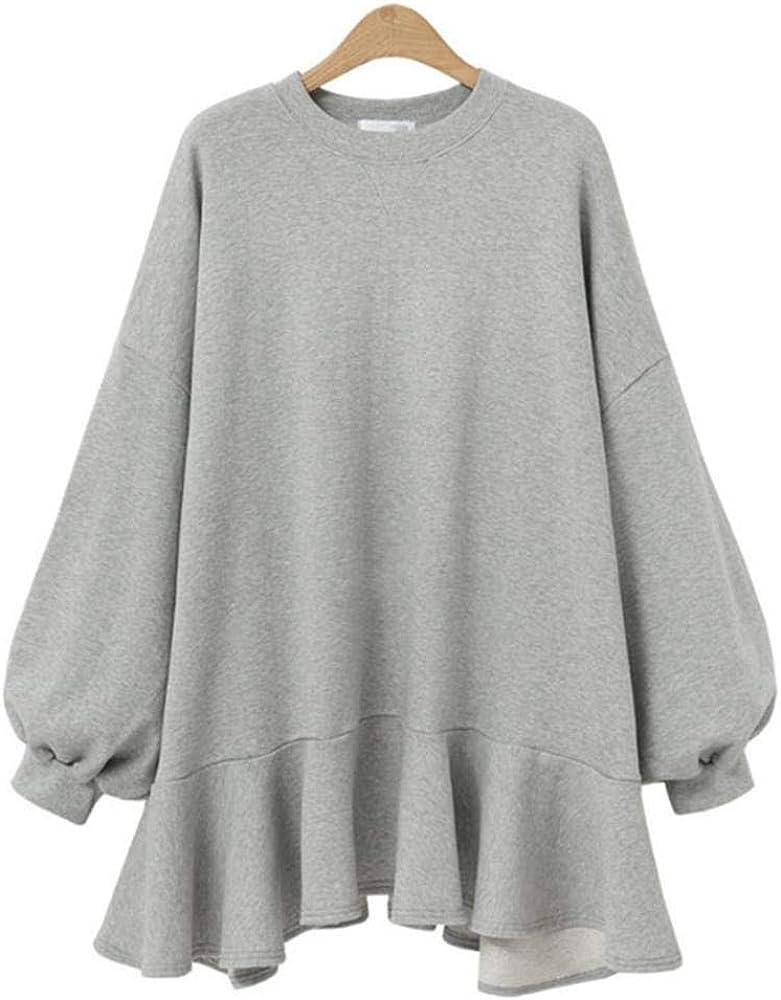Vestido de Cuello Alto Suelto con Manga de la Linterna La Sra. Cuello Redondo Color sólido Camisa Casual Top suéter, Gris_2XL: Amazon.es: Ropa y accesorios