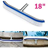 "Swimming Pool Brush 18"" Polished Aluminum Back Cleaning Brush with EZ Clips Cleans Walls Tiles Floors Effortlessly"