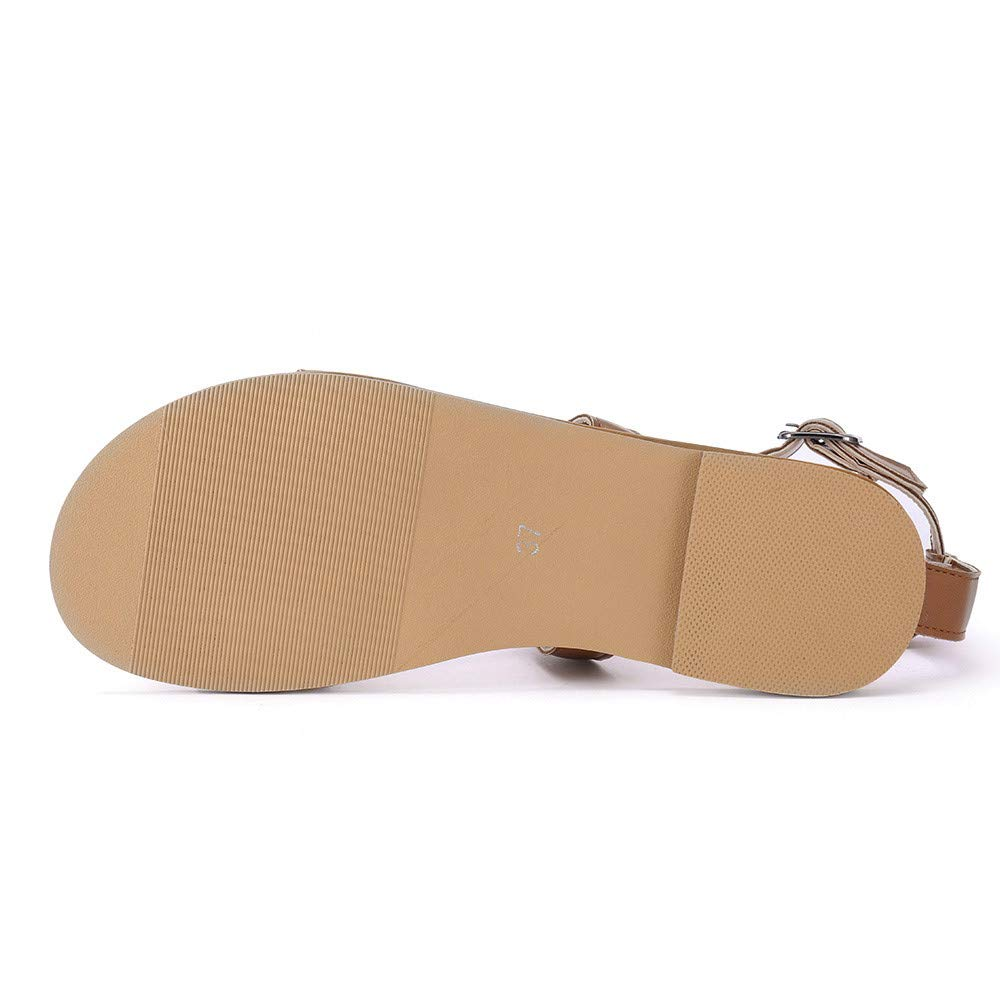 Moonker Women Sandals Slippers Ladies Girls Round Toe Breathable Buckle Strap Beach Sandals Rome Casual Flat Shoes