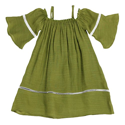 LELEFORKIDS - Toddlers and Girls Soft Cotton Madeline Off-Shoulder Dress in Olive Size 6 by LELEFORKIDS