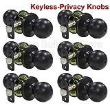 6 Pack Probrico Round Doorknobs Door Knob Lock Keyless Privacy Door Lockset Handle Storage Room Bathroom Oil Rubbed Bronze Door Knob-5763